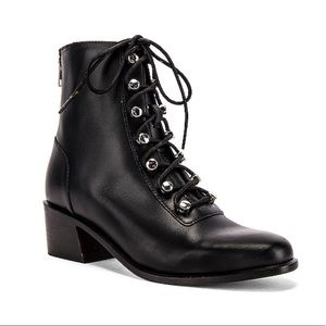 Free People Booties Eberly Combat Black Lace Up